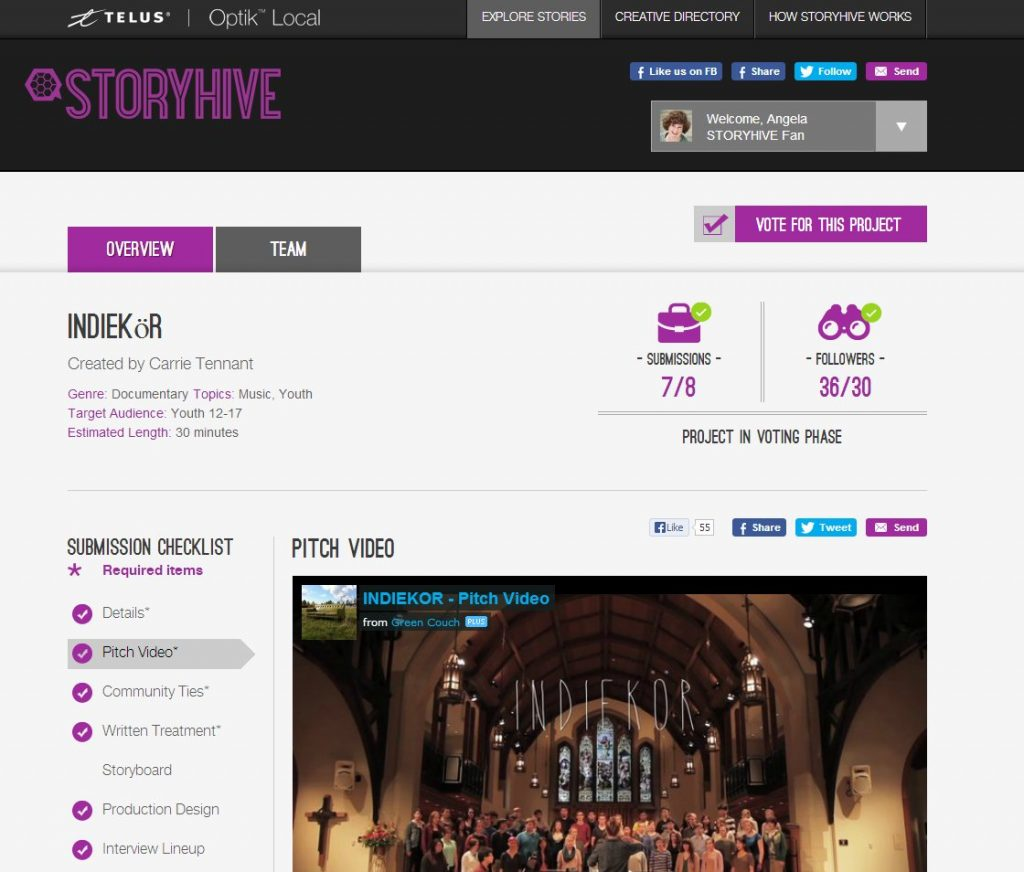 Screen capture of Indiekor on Storyhive