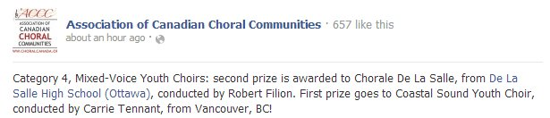 Coastal Sound Youth Choir awarded  first place ACCC July 2013 on Facebook